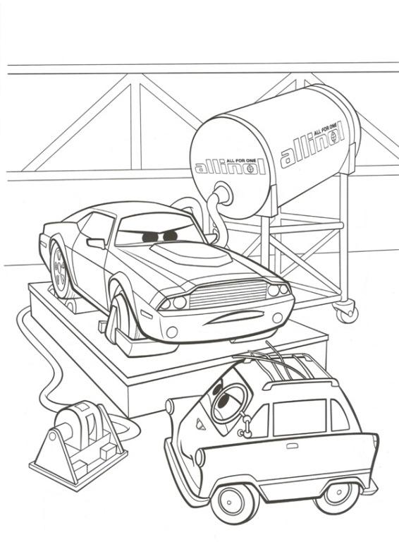 n kleurplaat cars 2 rod torque redline en zundapp