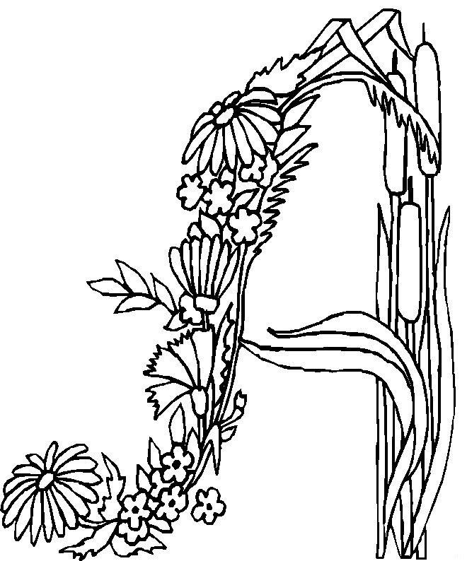 kleurplaten letters met bloemen
