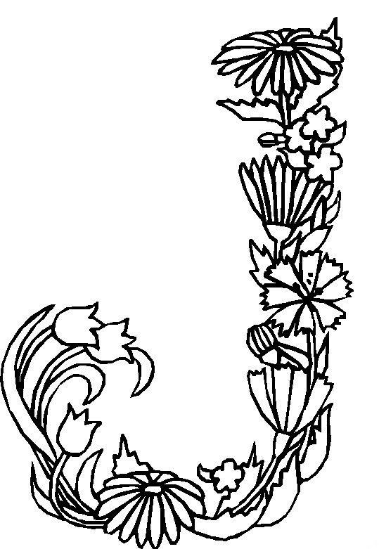 kleurplaten bloemen letters