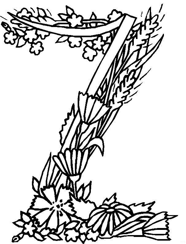 n 26 kleurplaten alfabet bloemen
