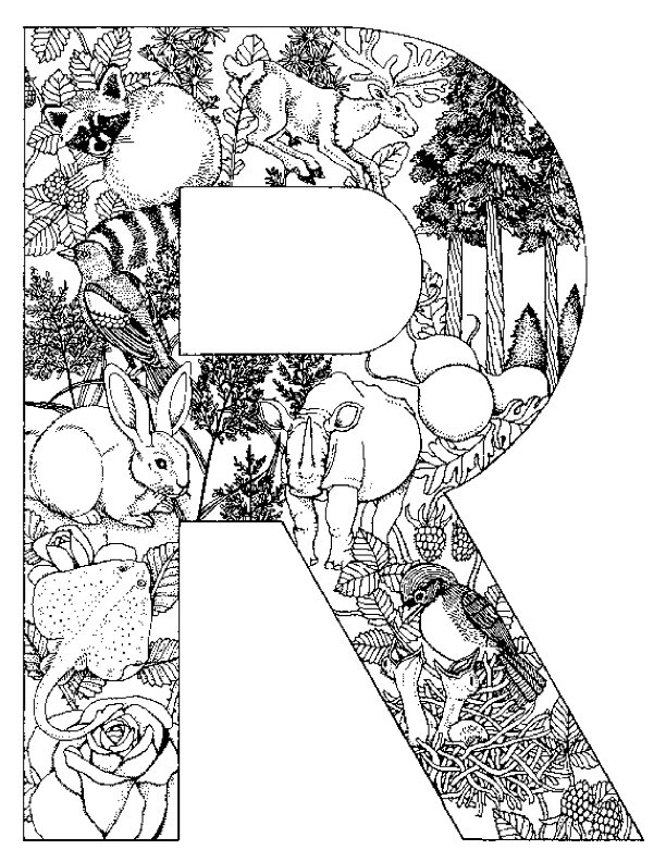 Kids N Fun Kleurplaat Alfabet Dieren Letter R