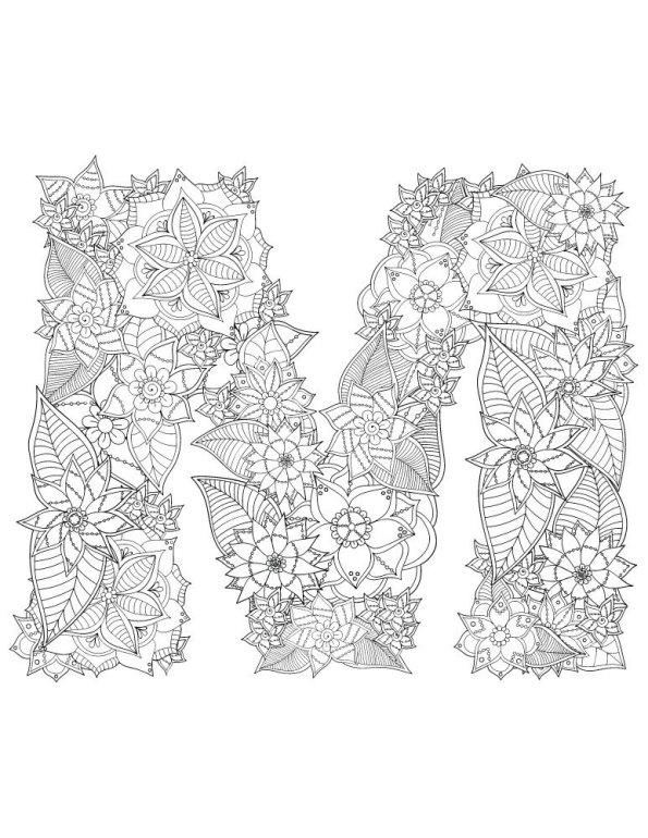 n kleurplaat alfabet bloemen moeilijk m
