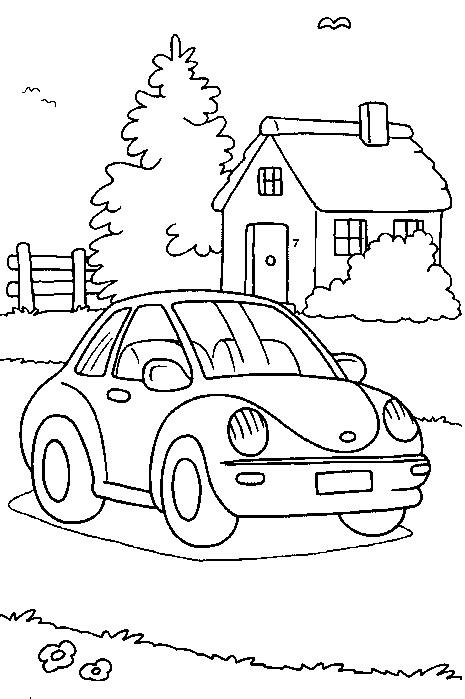 Kids N Fun Kleurplaat Auto Volkswagen Kever