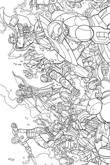 Kleurplaat Marvel Heroes