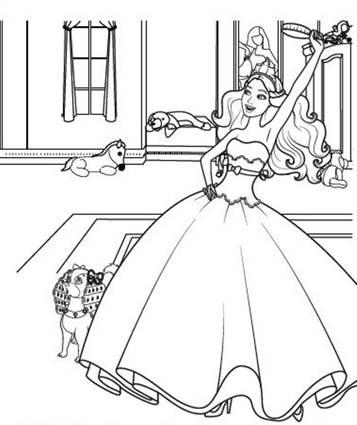 Kleurplaten Dansende Prinses.Kids N Fun 3 Kleurplaten Van Barbie Prinses En De Popster