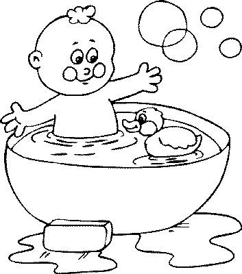 kleurplaten baby in bad