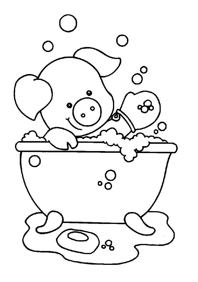 n kleurplaat in het bad varkentje in het bad