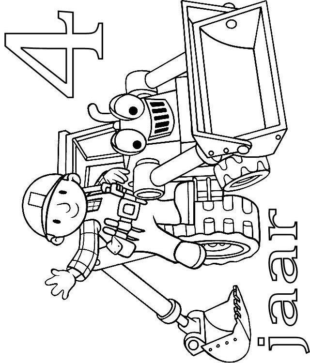 Kleurplaten Verjaardag 4 Jaar.Kids N Fun Kleurplaat Bob De Bouwer Verjaardag Bob En Scoop 4 Jaar