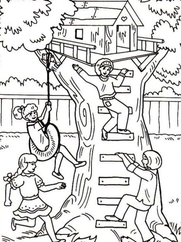 Kids N Fun 11 Kleurplaten Van Boomhutten