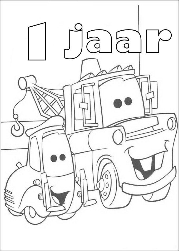 Kids N Fun Kleurplaat Cars Verjaardag Takel 1 Jaar