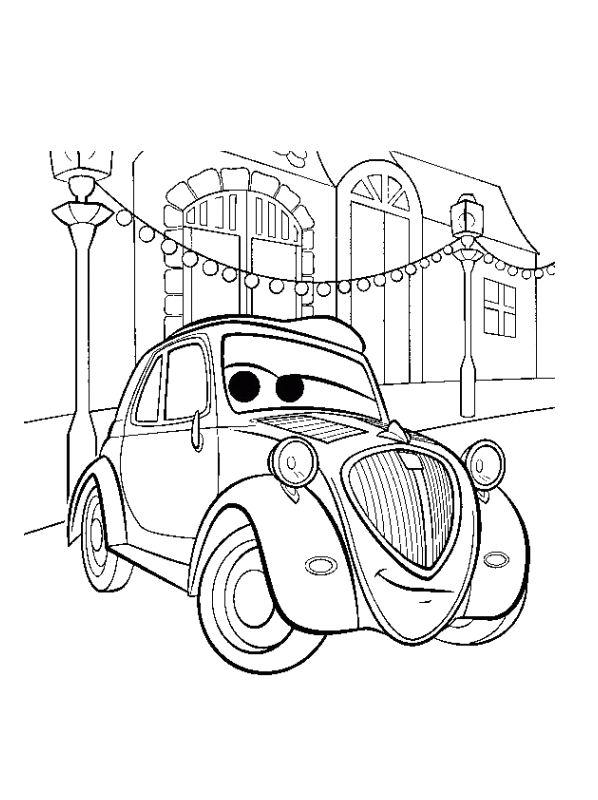 n kleurplaat cars 2 topolino