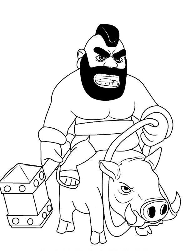 n kleurplaat clash of clans hog rider