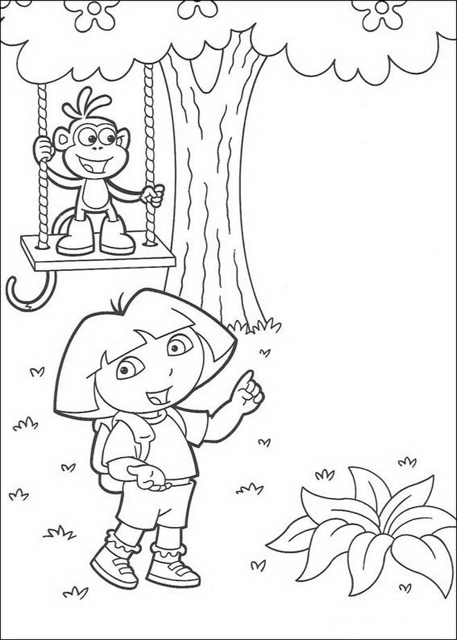 Kleurplaten Van Dora Boots.Kids N Fun Kleurplaat Dora De Verkenner Boots Op De Schommel