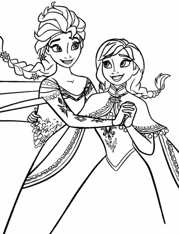 Kleurplaten Frozen Anna En Elsa.Kids N Fun Kleurplaat Frozen Anna En Elsa Anna Elsa