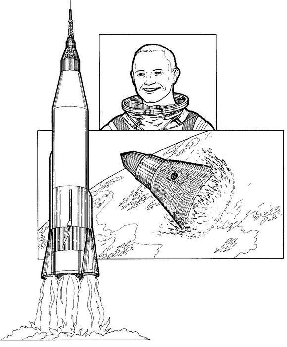 Kids N Fun Kleurplaat Ruimtevaart Geschiedenis John Glenn Eerste