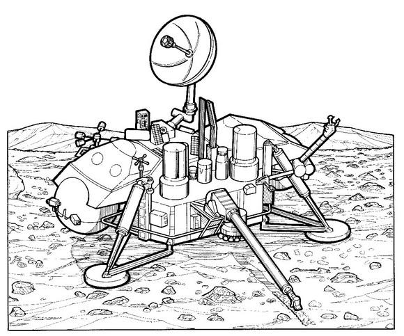 Kids N Fun Kleurplaat Ruimtevaart Geschiedenis Viking 1 Mars
