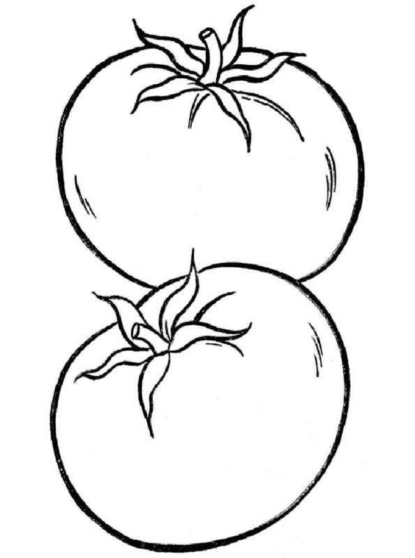 n kleurplaat groente tomaat