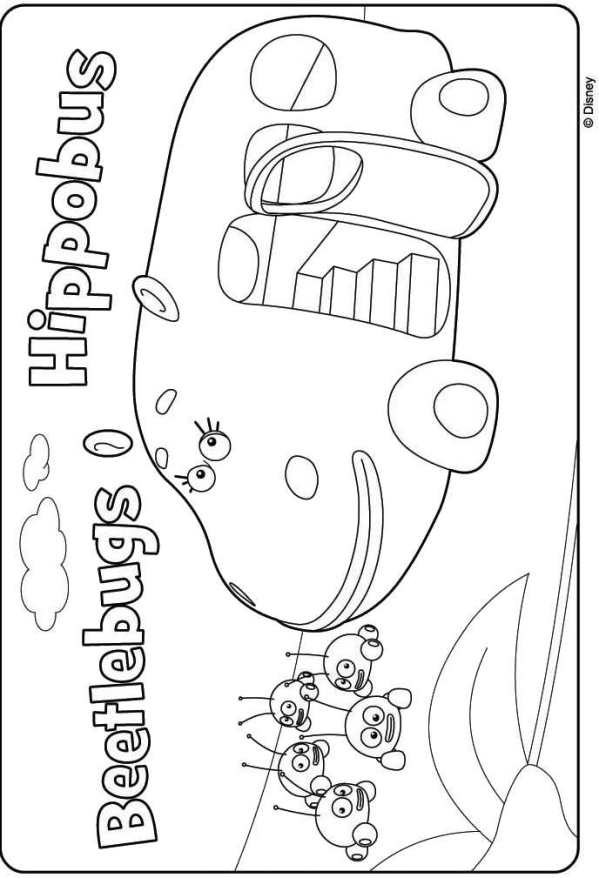 Kids N Fun Kleurplaat Jungle Junction Hippobus