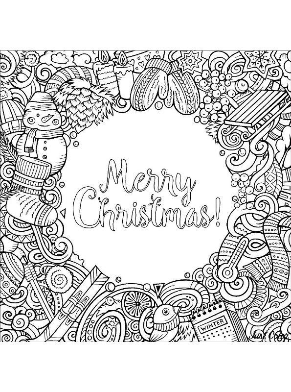 Kleurplaten Voor Volwassenen Kerst.Kids N Fun Kleurplaat Kerstmis Voor Volwassenen Merry