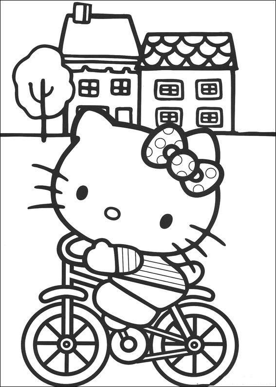 Valentijn Kleurplaten Hello Kitty.Kids N Fun Kleurplaat Hello Kitty Kitty Op De Fiets