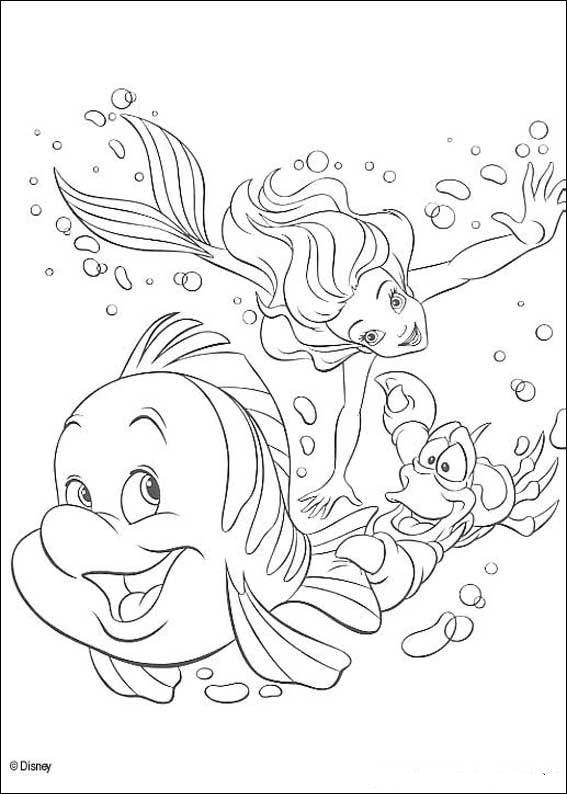 Zeemeermin Kleurplaten.Kids N Fun Kleurplaat De Kleine Zeemeermin Sebastiaan Ariel En Botje