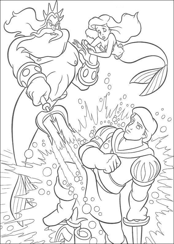 n kleurplaat de kleine zeemeermin koning triton
