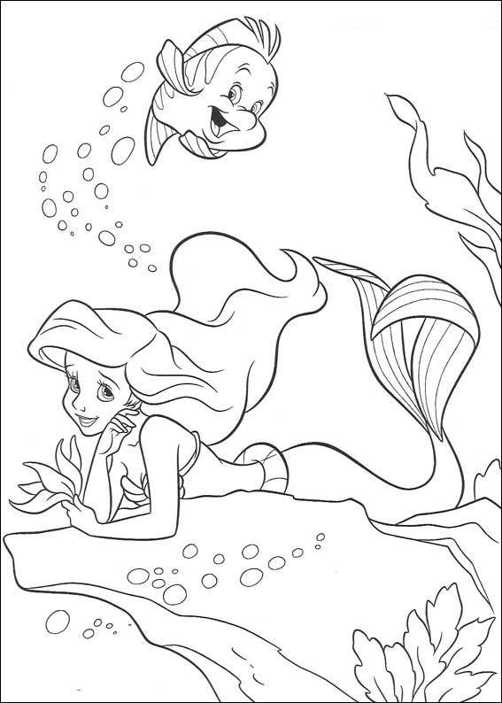 kleurplaten van ariel zeemeermin