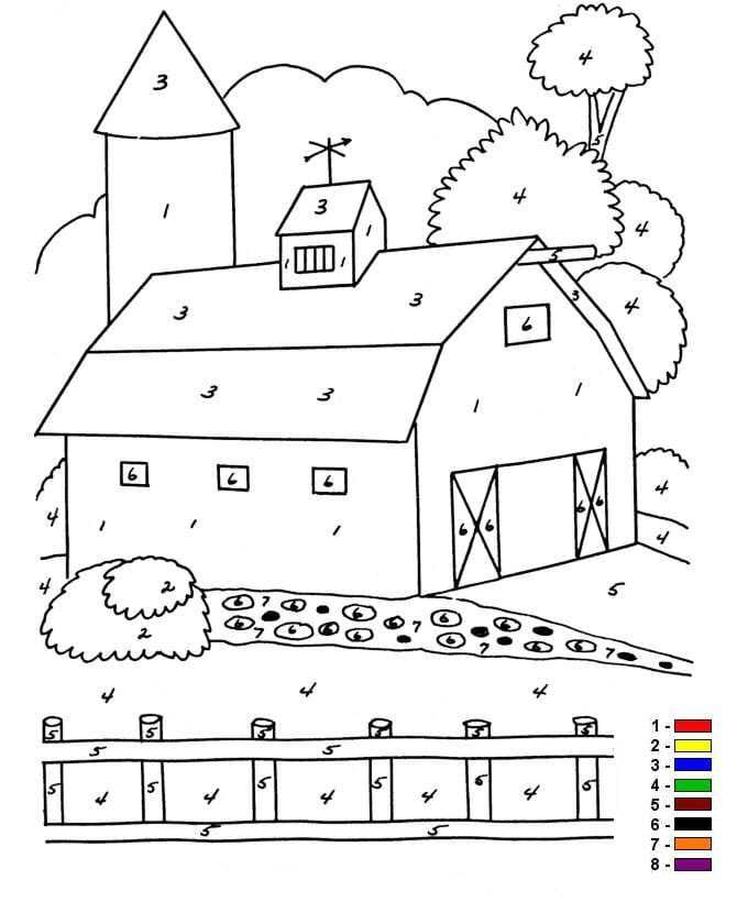 Top Kids-n-fun | 12 Kleurplaten van Kleur op nummer Boerderij ZR78
