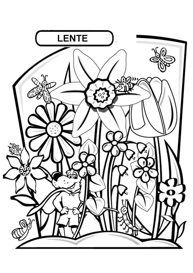 Kids N Fun Kleurplaat Lente Lente