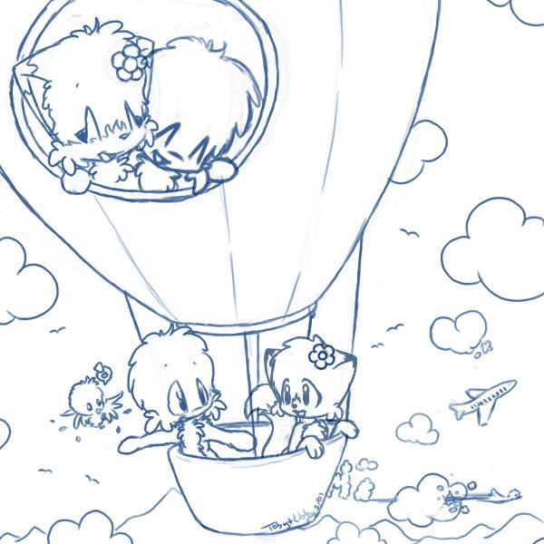 Kids n fun kleurplaat luchtballonnen luchtballonnen - Coloriage montgolfiere ...