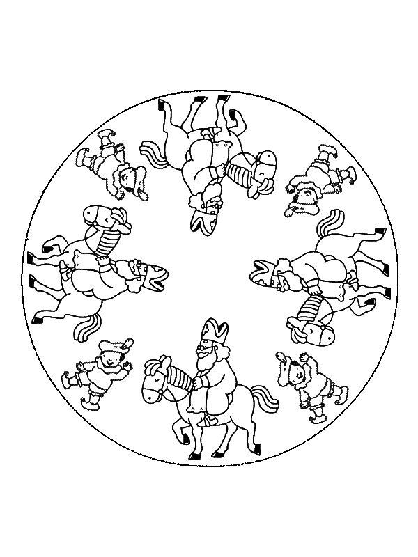 kleurplaten mandala van sinterklaas