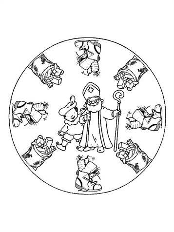 Kleurplaten Sint Mandala.Kids N Fun 3 Kleurplaten Van Mandala Sinterklaas