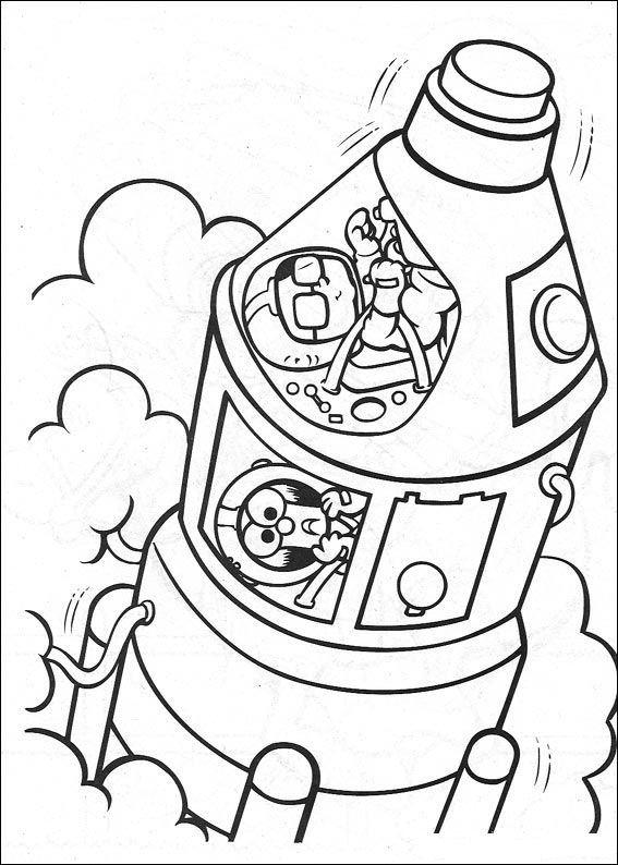 Kleurplaten Van Raketten.Kids N Fun Kleurplaat Muppet Babies Raket Van Honeydew