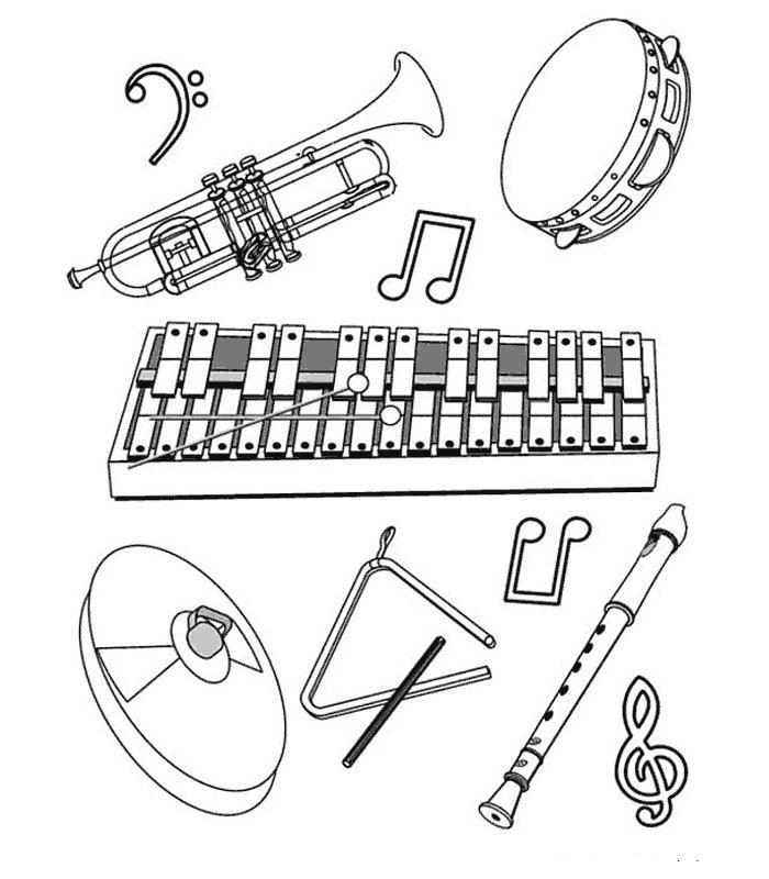 Kids n fun kleurplaat muziekinstrumenten verschillende for Clarinet coloring page