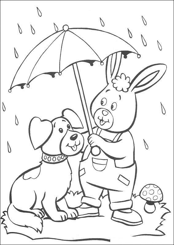 n kleurplaat noddy bumpy en konijn