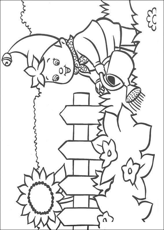 Kleurplaten Bloemen En Planten.Kids N Fun Kleurplaat Noddy Noddy Geeft Planten Water