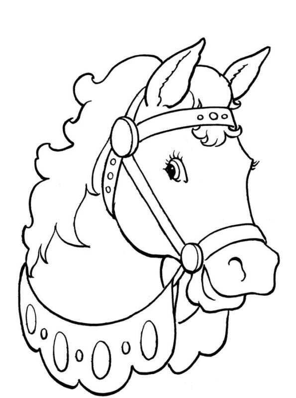 Paarden Hoefijzers Kleurplaten.Kleurplaat Paardenhoofd
