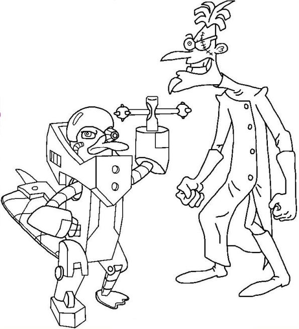 Kids n fun kleurplaat phineas en ferb perry en dr for Coloring pages of perry the platypus from phineas and ferb