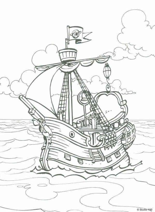 kleurplaten piet piraat scheve schuit