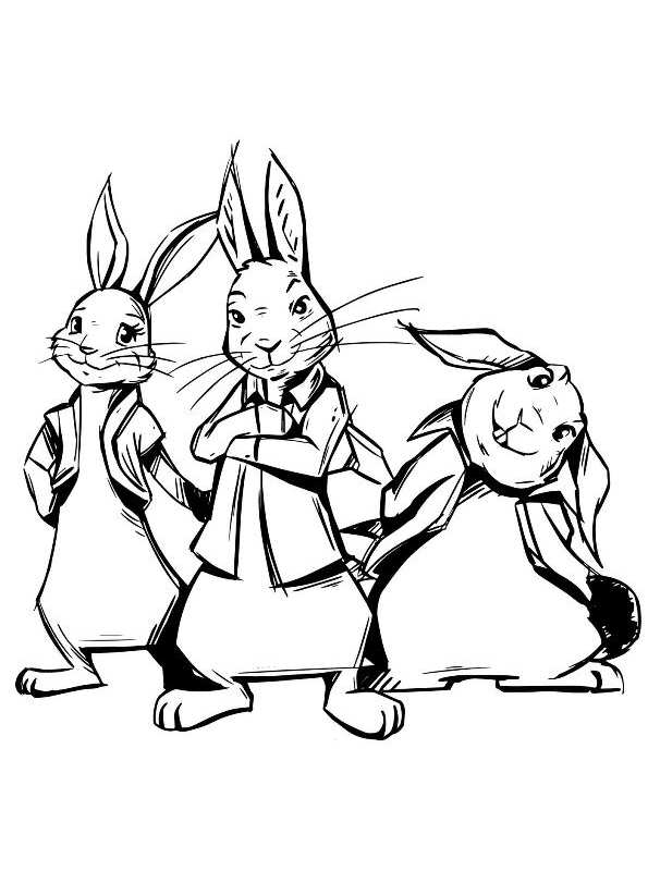 n kleurplaat pieter konijn of rabbit de