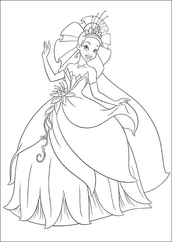 kleurplaten prinses tiana