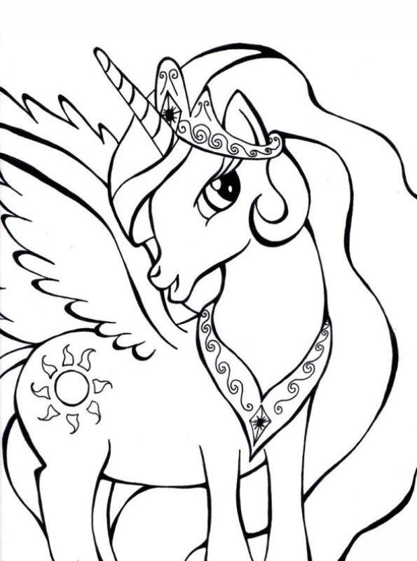 n kleurplaat prinses celestia my pony