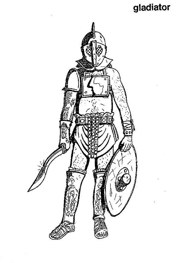 n kleurplaat romeinse tijd een gladiator