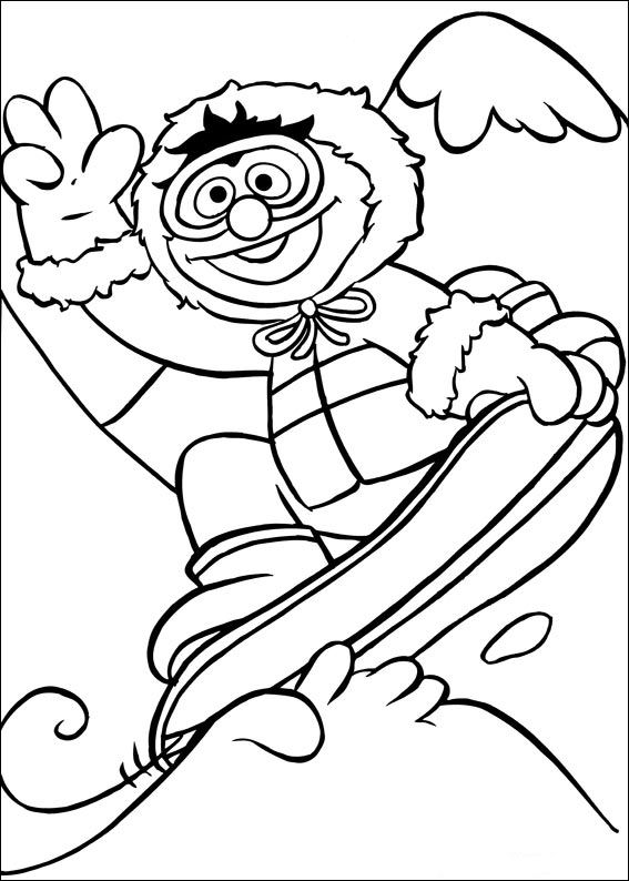 Kleurplaten Kerst Sesamstraat.Kids N Fun Kleurplaat Sesamstraat Sport Snowboarden