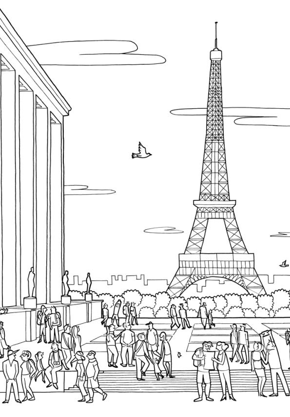 Volwassen Kleurplaat Winter Kids N Fun Kleurplaat Steden Tour Eiffel