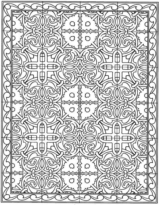 Kids n fun kleurplaat tegels tegels for Moroccan coloring pages