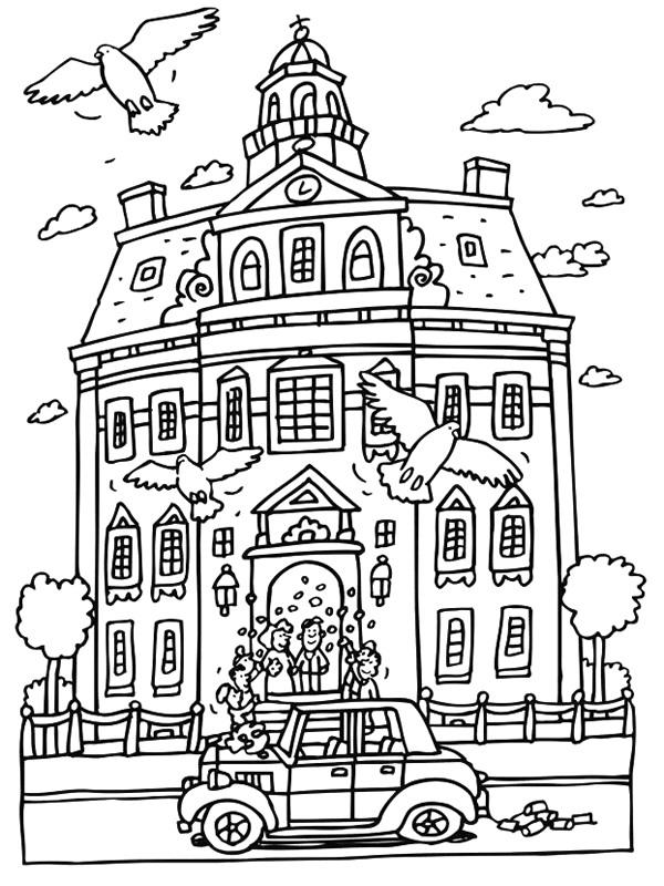 Kids N Fun Kleurplaat Trouwen Het Stadhuis