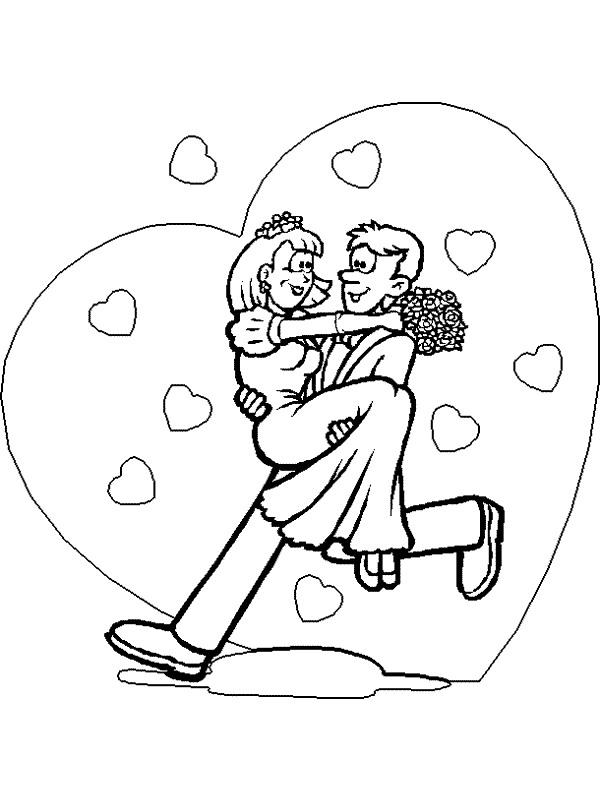 Gratis Kleurplaten Trouwen.Kleurplaat Bruiloft