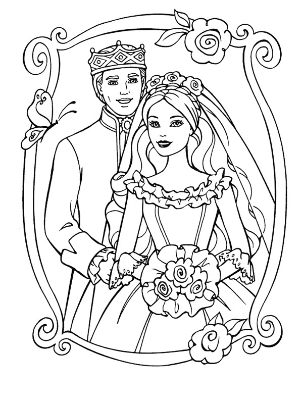 Kids n fun 34 kleurplaten van trouwen for Barbie coloring pages for kids