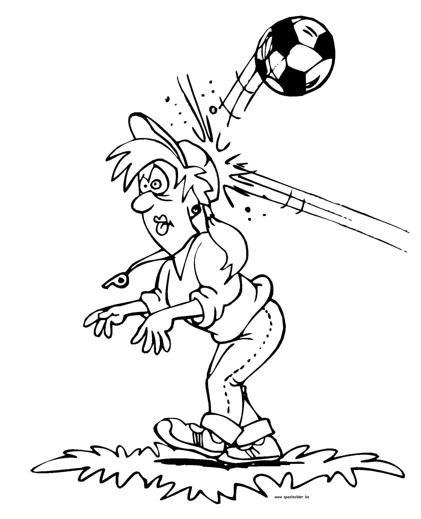 Speelzolder Kleurplaten Lente.Kids N Fun Kleurplaat Voetbal Auu Bal Tegen Hoofd